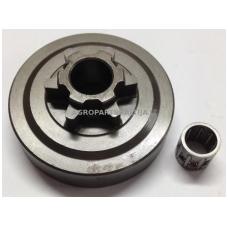 Sankabos būgnelis su guoliu 25cc 3/8 6 užgriebių. Guolio vidaus išmatavimai 10 mm, bugnelio vidaus išmatavimai 54 mm